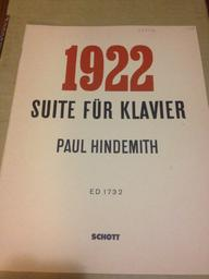 1922 : suite für Klavier   Hindemith, Paul (1895-1963)