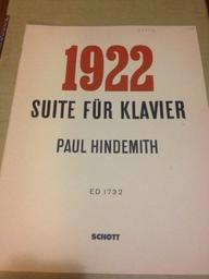1922 : suite für Klavier | Hindemith, Paul (1895-1963)